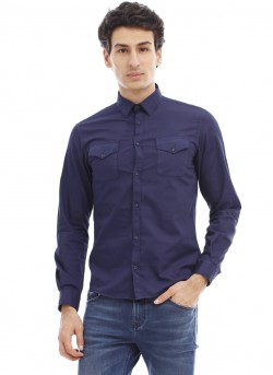 Chemise à manches longues unie homme
